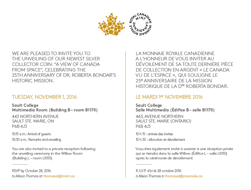 The Royal Canadian Mint invitation to the commemorative coin unveiling