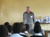 Roger Hooper welcomes girls supported by Hoopers Africa Trust.