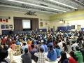 Dr Roberta Bondar addresses student assembly, Brampton, Ontario