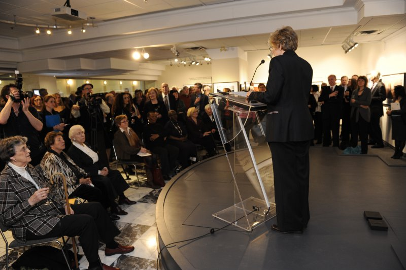 Dr Roberta Bondar addresses gallery patrons at The Roberta Bondar Foundation's first Traveling Exhibition and Learning Experience