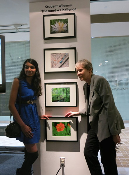 "Dr Bondar with Arane Asokumar and her image ""Nature's Pattern"" -- First Place Winner, 2014 Parkdale School Bondar Challenge"