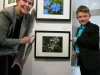 "Dr Bondar with Blake and his image ""Forest Flower"" -- First Place Winner, 2014 Fall Semester School-Based Bondar Challenge"