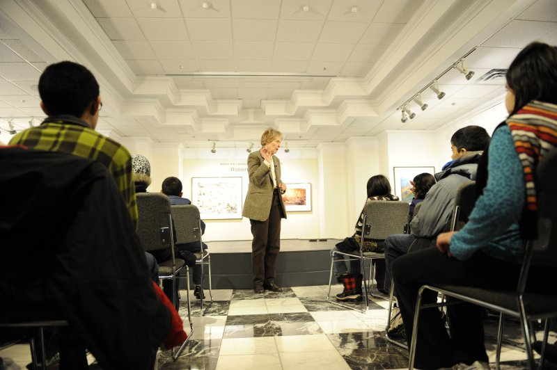 Dr Roberta Bondar addresses students at the Biodiversity and Extinction exhibition before their field work experience