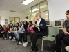 Dr Roberta Bondar works with young women leaders at a school