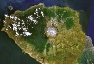 Tambora today as seen from NASA Landsat7
