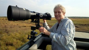 Dr. Roberta Bondar using the Nikon D800 with Nikon's 600mm lens during field work in Kenya's Masai Mara.