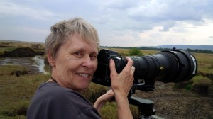 Dr. Roberta Bondar and trusty Nikon at work in Kenya's Masai Mara.