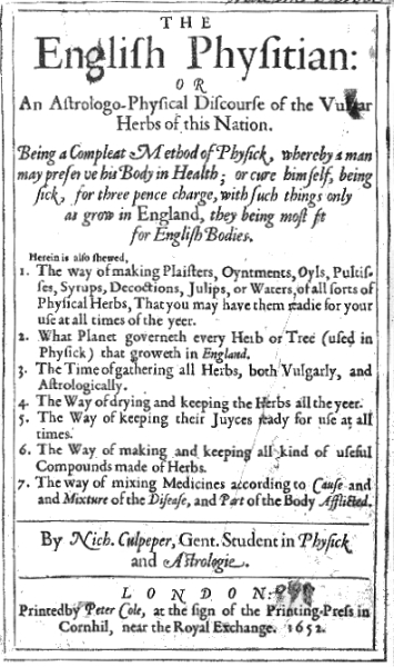 Cover page of  The English Physician Nicholas Culpeper 's complete holistic guide to caring for the sick.