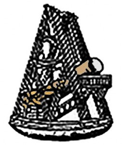 An image of Herschel's 40-ft telescope that is the centre of the Royal Astronomical Society logo.