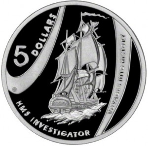 Australian commemorative coin featuring HMS Investigator on which Robert Brown began his mark on the botanical world