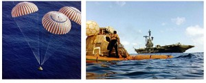 Apollo 17 command module descends to splashdown in South Pacific Ocean [L] where USS Ticonderoga executes its recovery manoeuvres [R].