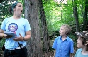 She- and puppy-wolf howl practice for the Moonlight-Hike-and-Wolf-Howl
