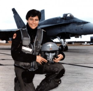 "Major Dee Brasseur and supersonic CF-18 ""Hornet"""