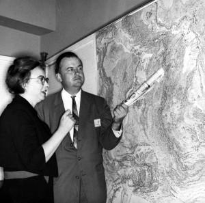 Marie Tharp and Bruce Heezen check their mid-Atlantic Ridge features [Courtesy Lamont-Doherty Earth Observatory Columbia University Earth Institute]