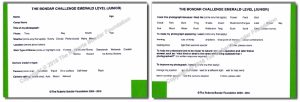 example of beginner level (Emerald) Bondar Challenge card: front (left) and back (right)