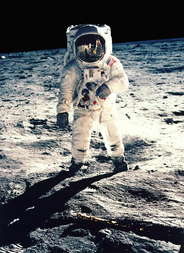 On Moon: Buzz Aldrin, Apollo 11 [NASA photo]